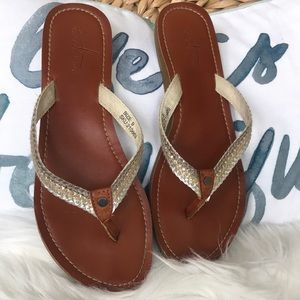 Shoes - Silver and gold flip flops